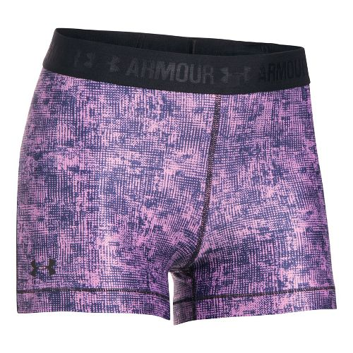 Womens Under Armour HeatGear Printed Shorty Compression & Fitted Shorts - Icelandic Rose/Black S