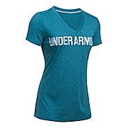 Womens Under Armour Threadborne V Graphic Twist Short Sleeve Technical Tops
