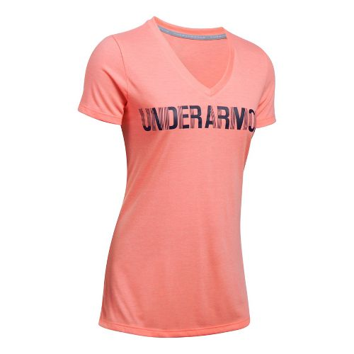 Womens Under Armour Threadborne V Graphic Twist Short Sleeve Technical Tops - Cape Coral/Navy L