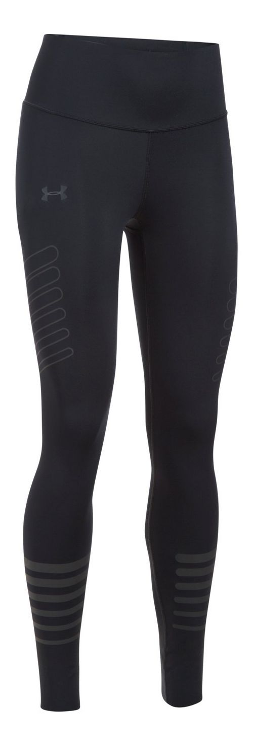 Womens Under Armour Accelerate Reflective Legging  Tights - Black/Black M