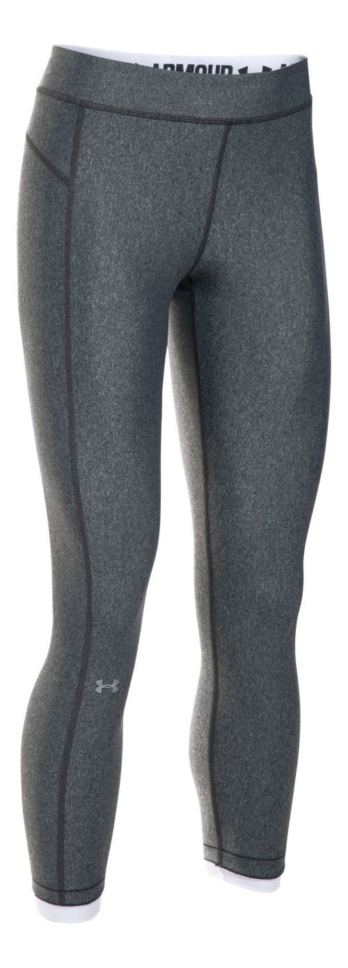 Womens Under Armour HeatGear Ankle Crop Tights - Midnight Navy/Coral L