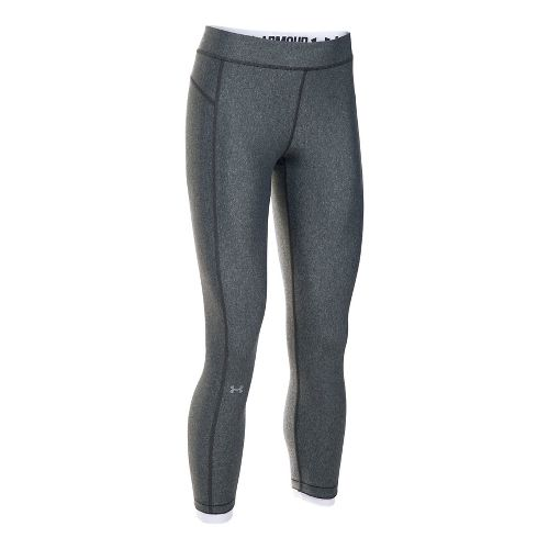 Womens Under Armour HeatGear Ankle Crop Tights - Carbon Heather/White L