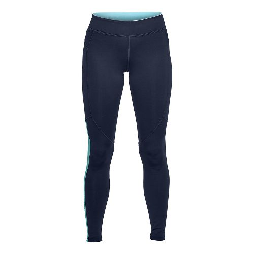 Womens Under Armour ColdGear Graphic Legging Compression Tights - Midnight Navy/Blue S