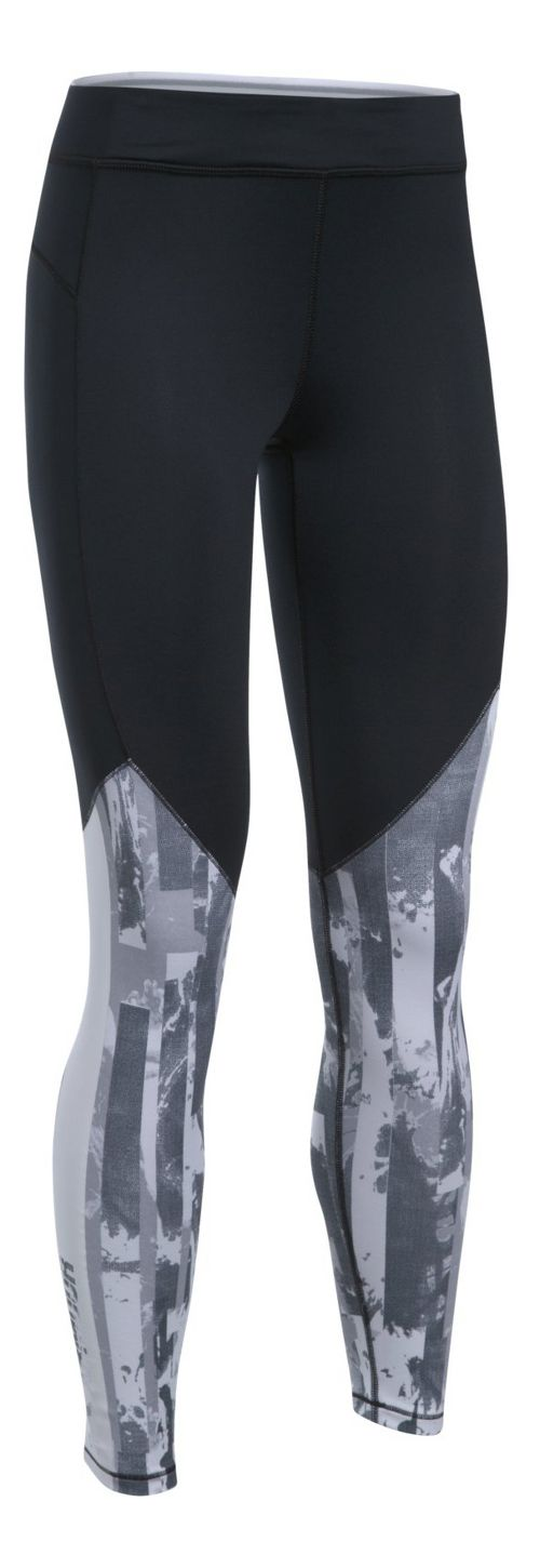 Womens Under Armour ColdGear Graphic Printed Legging Compression Tights - Black/Stealth Grey L