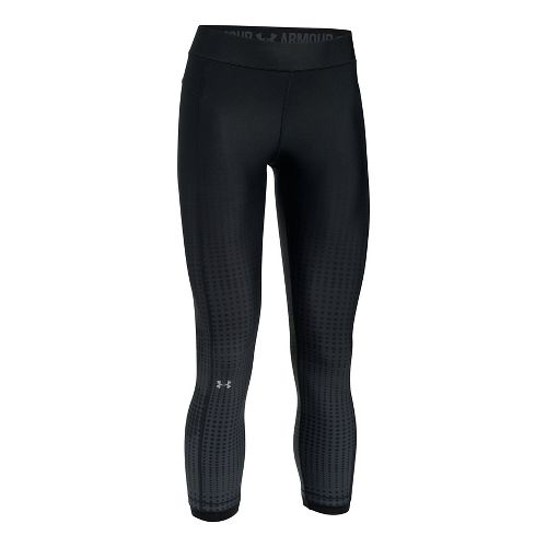 Womens Under Armour HeatGear Graphic Ankle Crop Tights - Black/Stealth Grey XL
