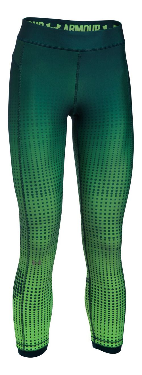 Womens Under Armour HeatGear Graphic Ankle Crop Tights - Arden Green/Lime M