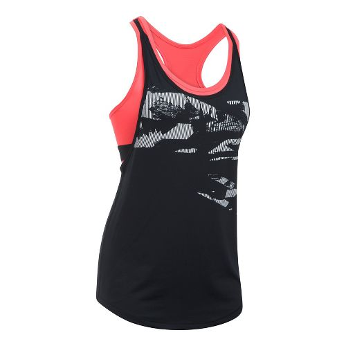 Womens Under Armour HeatGear 2-in-1 Printed Sleeveless & Tank Tops Technical Tops - Black/Red XL