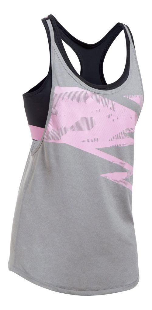 Womens Under Armour HeatGear 2-in-1 Printed Sleeveless & Tank Tops Technical Tops - Grey ...