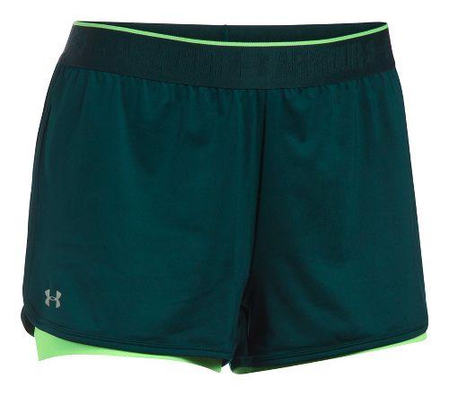 Womens Under Armour HeatGear 2-in-1 Shorts - Arden Green/Lime XS