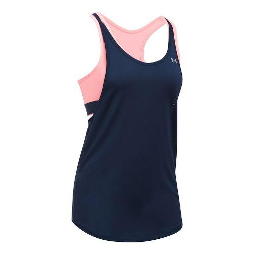Womens Under Armour HeatGear 2-in-1 Sleeveless & Tank Tops Technical Tops - White/Steel L