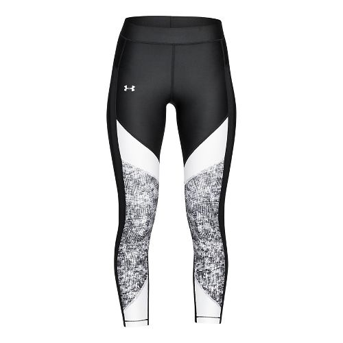Womens Under Armour HeatGear Color Blocked Ankle Crop Tights - Black/White XS