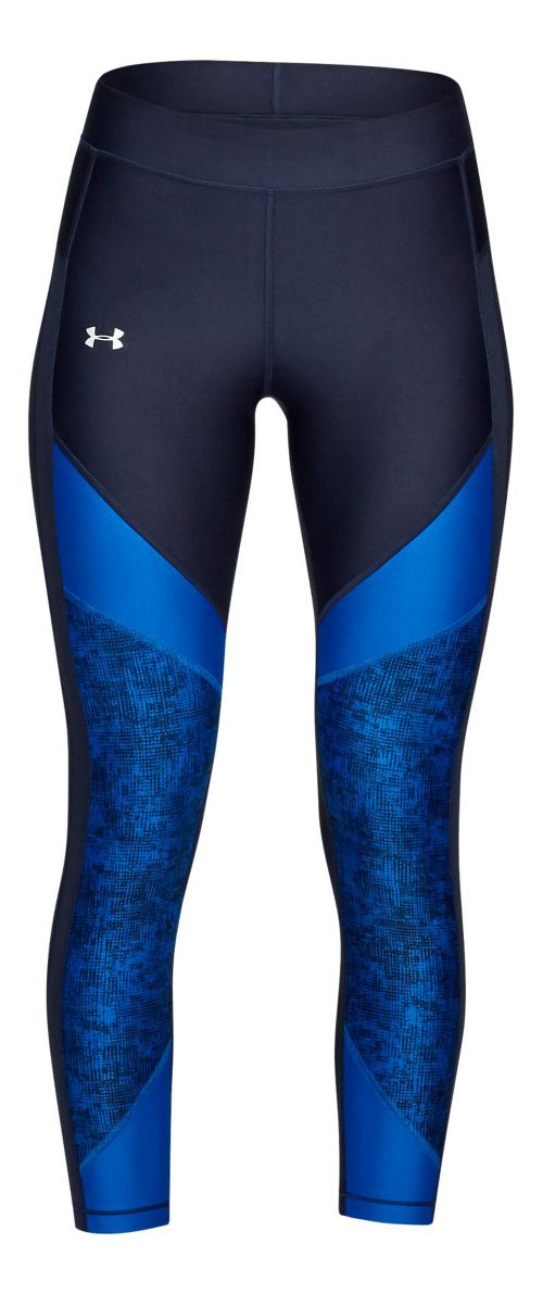 Womens Under Armour HeatGear Color Blocked Ankle Crop Tights - Midnight Navy/Blue M