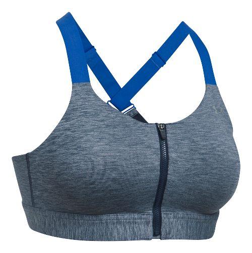 Womens Under Armour Eclipse High Zip Heather Sports Bras - Midnight Navy 36-A