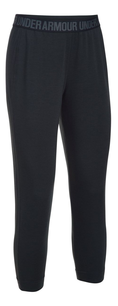 Womens Under Armour Featherweight Fleece Crop Pants - Black/Graphite L