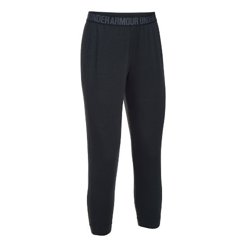 Womens Under Armour Featherweight Fleece Crop Pants - Black/Graphite M