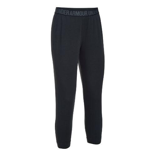 Womens Under Armour Featherweight Fleece Crop Pants - Black/Graphite S