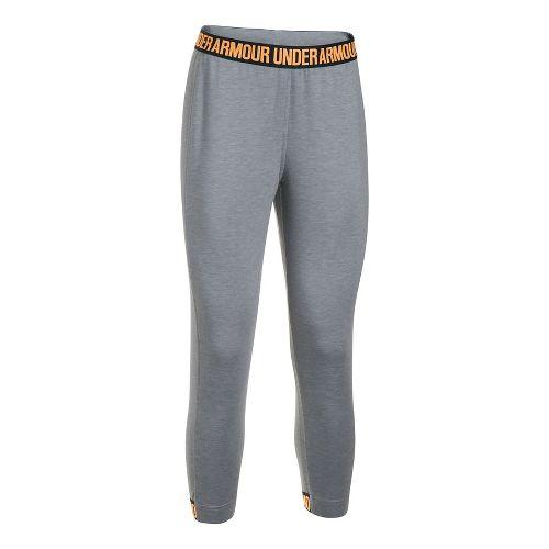 Womens Under Armour Featherweight Fleece Crop Pants - Grey Heather/Orange S