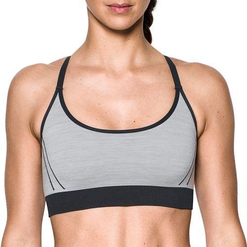 Womens Under Armour Threadborne Low Pop Sports Bras - True Grey Heather L