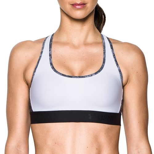 Womens Under Armour Crossback Deboss Band Sports Bras - White XS