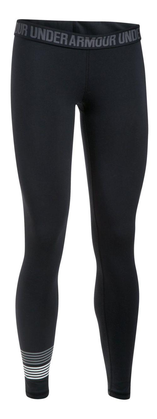 Womens Under Armour Favorite Legging Wordmark Graphic  Tights - Black/Steel L