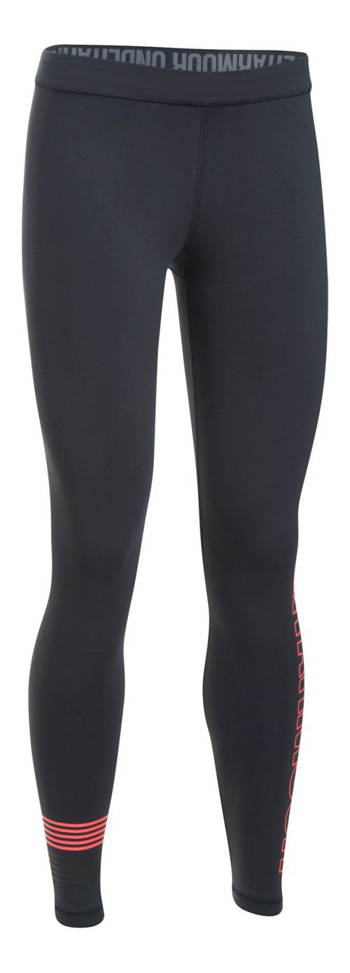 Womens Under Armour Favorite Legging Wordmark Graphic  Tights - Black/Marathon Red M