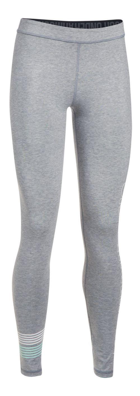 Womens Under Armour Favorite Legging Wordmark Graphic  Tights - Grey Heather/White XL