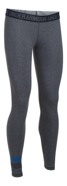 Womens Under Armour Favorite Legging Wordmark Graphic  Tights - Black/Steel XL