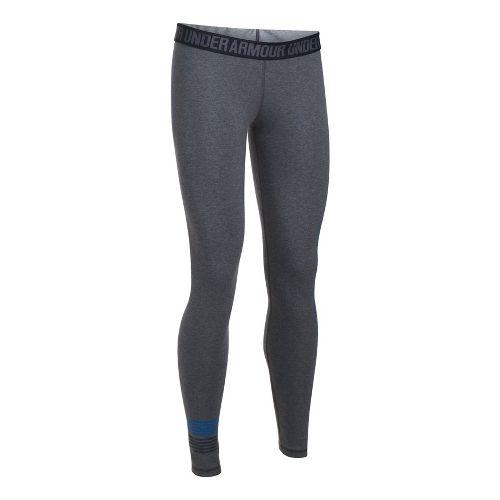 Womens Under Armour Favorite Legging Wordmark Graphic  Tights - Carbon Heather/Blue M