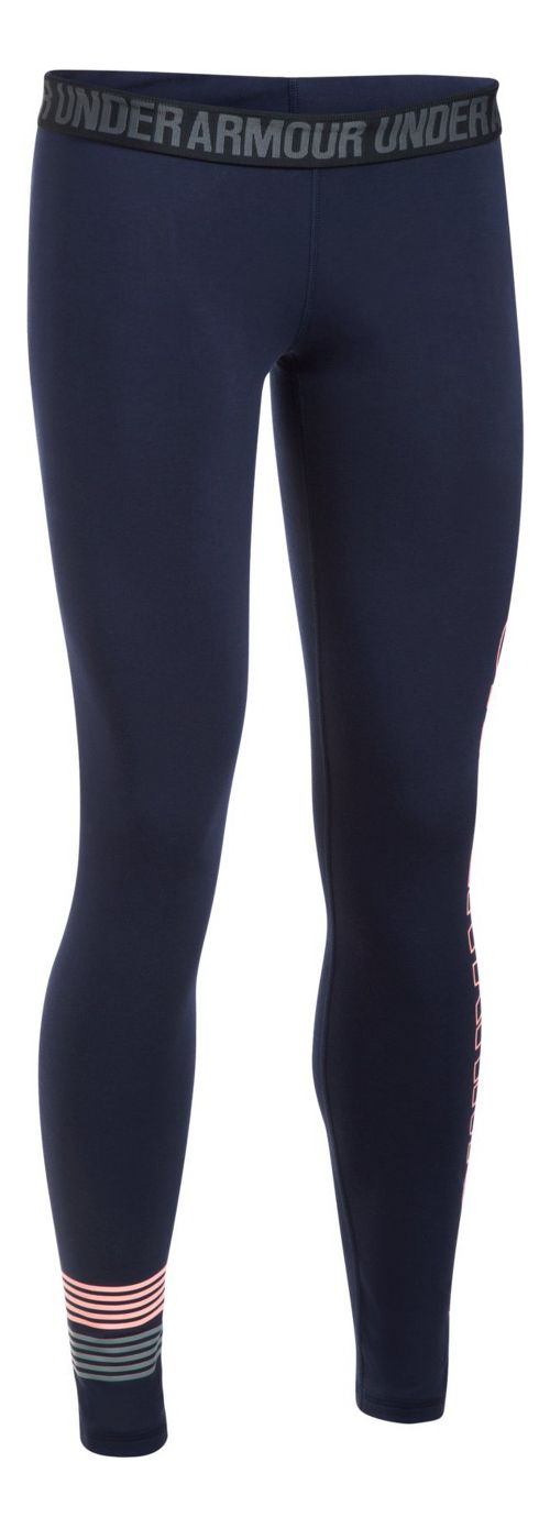 Womens Under Armour Favorite Legging Wordmark Graphic  Tights - Midnight Navy/Coral L