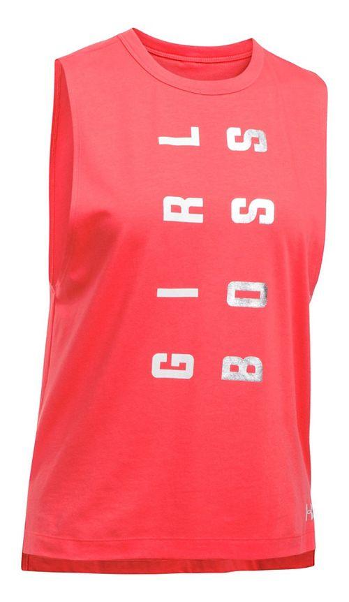 Womens Under Armour Muscle Tank GIRL BOSS Sleeveless & Tank Tops Technical Tops - Marathon Red L