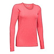 Womens Under Armour Threadborne Seamless Heather Long Sleeve Technical Tops - Marathon Red S