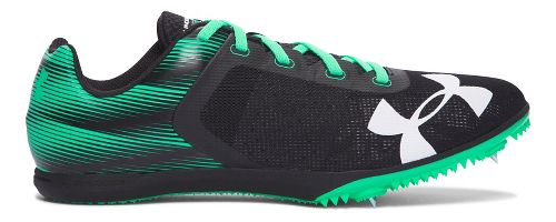 Mens Under Armour Kick Distance Track and Field Shoe - Black/Green 9.5