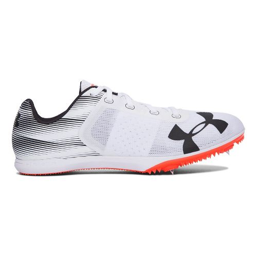 Mens Under Armour Kick Distance Track and Field Shoe - White/Fire 10.5