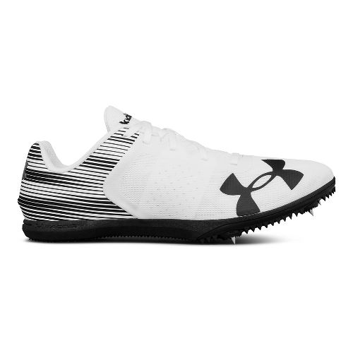 Mens Under Armour Kick Distance Track and Field Shoe - White/Black 7.5