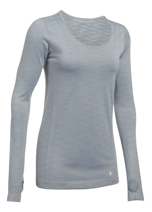 Womens Under Armour Threadborne Seamless Reversible Long Sleeve Technical Tops - Steel/Stealth ...