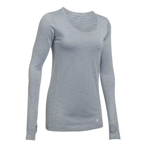 Womens Under Armour Threadborne Seamless Reversible Long Sleeve Technical Tops - Steel/Stealth ...