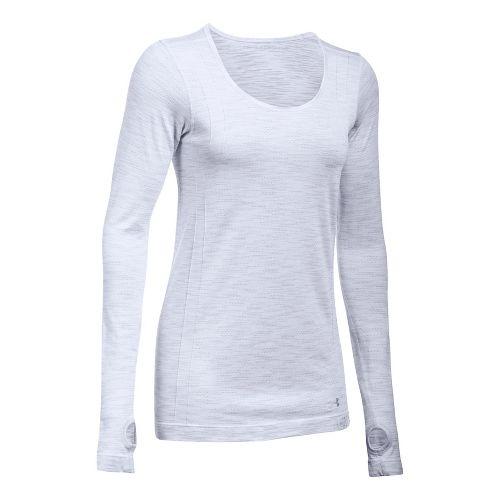 Womens Under Armour Threadborne Seamless Reversible Long Sleeve Technical Tops - White/Overcast ...