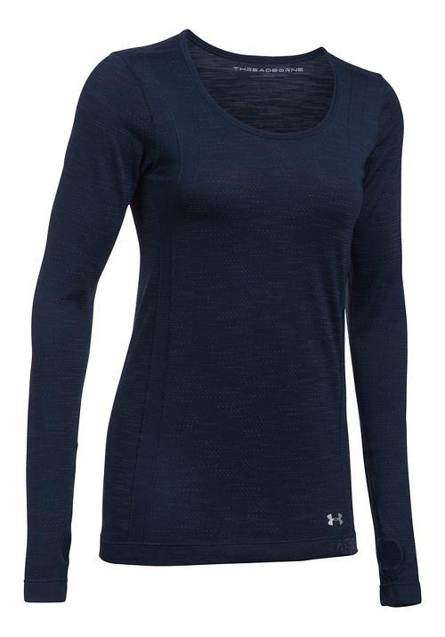 Womens Under Armour Threadborne Seamless Reversible Long Sleeve Technical Tops - Midnight ...