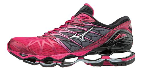 Womens Mizuno Wave Prophecy 7 Running Shoe - Bright Rose/Black 8.5