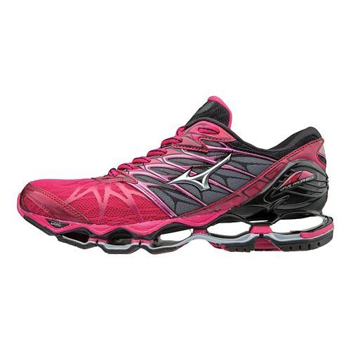 Womens Mizuno Wave Prophecy 7 Running Shoe - Bright Rose/Black 7.5