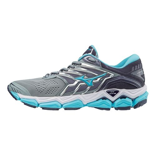 Womens Mizuno Wave Horizon 2 Running Shoe - Silver/Blue 9.5