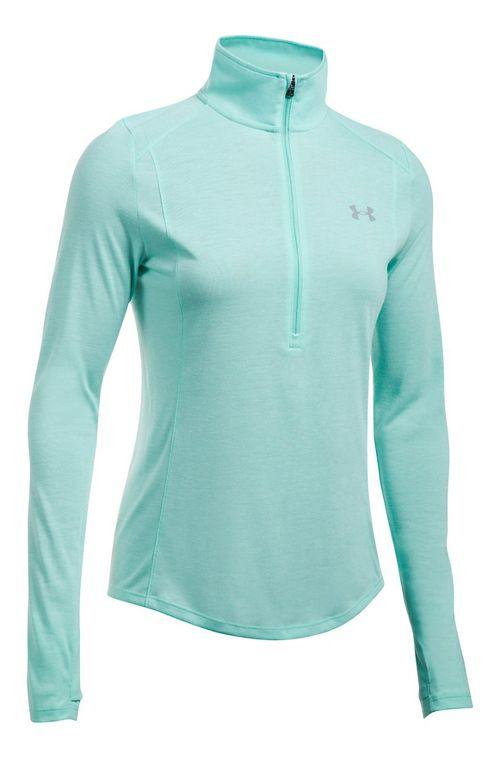 Womens Under Armour Threadborne Train Twist Half-Zips & Hoodies Technical Tops - Blue Infinity XL