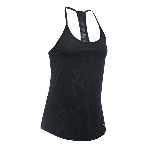 Womens Under Armour Fly By Embossed Racer Sleeveless & Tank Tops Technical Tops - Black S