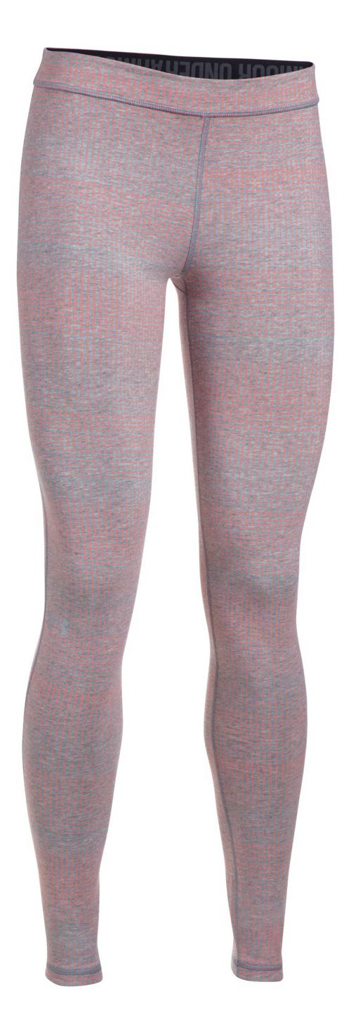 Womens Under Armour Favorite Legging-Print  Tights - Grey Heather/Coral M