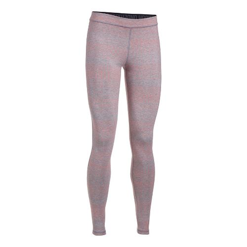Womens Under Armour Favorite Legging-Print  Tights - Grey Heather/Coral XS