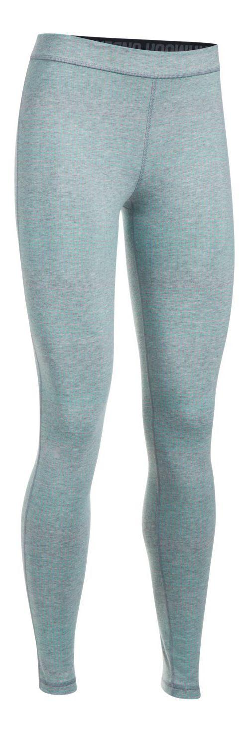 Womens Under Armour Favorite Legging-Print  Tights - Grey Heather/Blue M