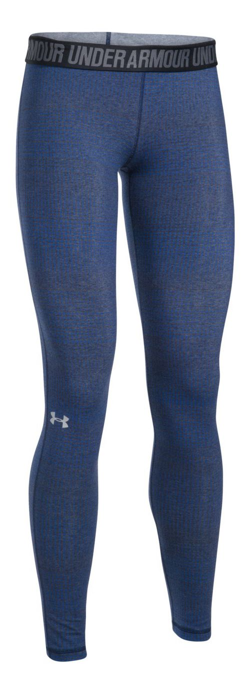 Womens Under Armour Favorite Legging-Print  Tights - Midnight Navy/Blue XS