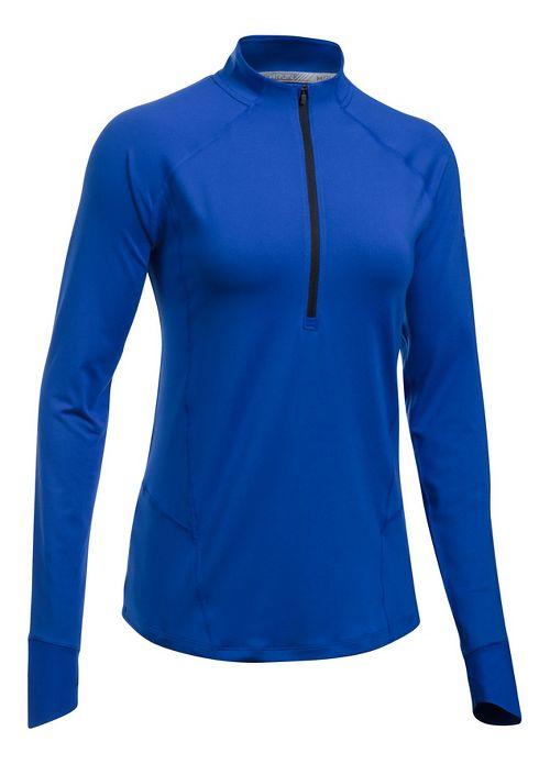 Womens Under Armour Run True Half-Zips & Hoodies Technical Tops - Lapis Blue/Black L