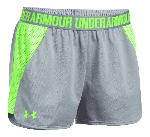 Womens Under Armour Play Up 2.0 Mesh Inset Unlined Shorts - Grey Heather/Lime M