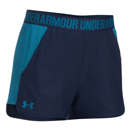 Womens Under Armour Play Up 2.0 Mesh Inset Unlined Shorts - Midnight Navy/Blue L